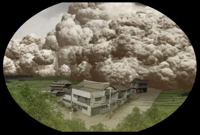 『平成大噴火シアター』<br>雲仙普賢岳噴火に伴う「火砕流」と「土石流」を直径14mのドーム型スクリーンでCG 再現。