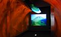 『マグマゲート』<br>記念館に来館者が入るとセンサーが感知。4台のプロジェクターによるマグマがトンネル壁面を赤く染め上げ、平成大噴火による普賢岳の変貌が映し出されます。