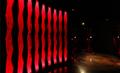 「イマージョンシアター 縄文への道」 <br>常設展示室の入り口にあるシアター。 <br>出土品の漆器をイメージした赤い光りと土器の文様の光りが、来場者を現実世界から縄文の世界へ誘います。